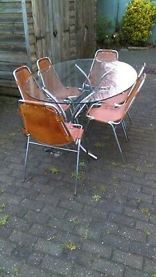 1960's 6 Charlotte Perriand Les Arcs Chairs + Glass Top Table Retro Mid Century