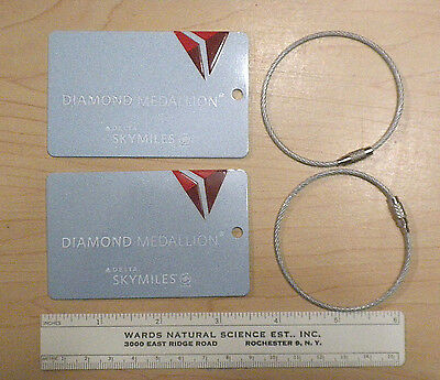 2X Brand New Delta Airlines Metal Diamond Medallion Luggage Tags with Metal Band