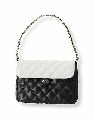 NWT Janie & Jack Quilted Colorblock Purse Black White Designer HTF Woven Chain