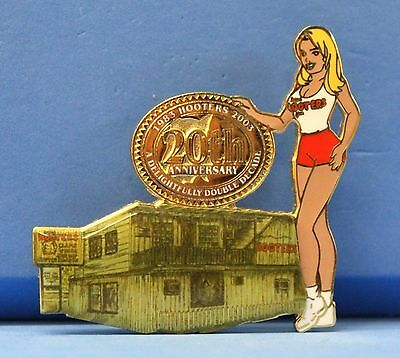 HOOTERS 1st ORIGINAL RESTAURANT GIRL CLEARWATER FL FLORIDA 20th ANNIVERSARY PIN