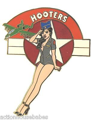 Hooters Restaurant Collectible Military Air Force Girl Saluting Lapel Pin