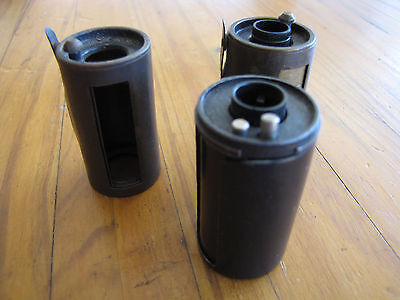 Vintage Leica Film Cannisters 2 Brass 1 Metal