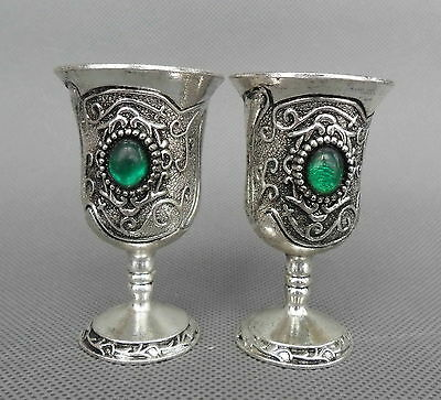 Collectable Handwork Decoration Miao Silver Carved Flower Inlay Beads Wine Cups