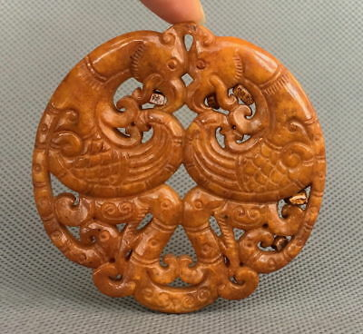Collectible Chinese Handwork Decoration Jade Carved Phoenix Vivid Lucky Pendant