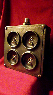 "Vintage Industrial Light Switch ""Crabtree"" Cast Iron 4 Four Gang"