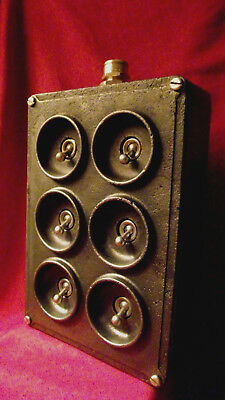 "Vintage Industrial Light Switch ""Crabtree"" Cast Iron 6 Six Gang"