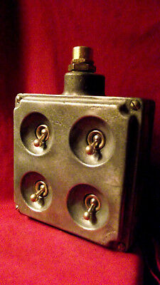 """Vintage Industrial Light Switch """"Walsall"""" Cast Iron Galvanized 4 Four Gang RARE"""