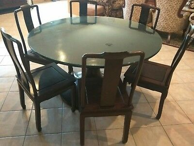 Chinese Antique Rosewood round dining table and chairs