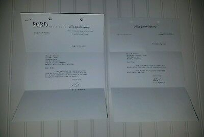 FORD CO  autographed 2 letters from Robert S. McNamara to Gen Emrick, 1957 1960
