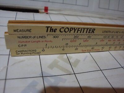 1946 COPYFITTER typeset slide rule ruler Char Pica Taylor Publishing Dayton OH