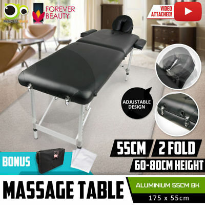 Massage Table Portable Aluminium 2 Fold Beauty Bed Therapy Waxing 55cm AUSTOCK W