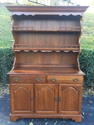 Ethan Allen Solid Cherry Traditional Country 2 Piece Hutch