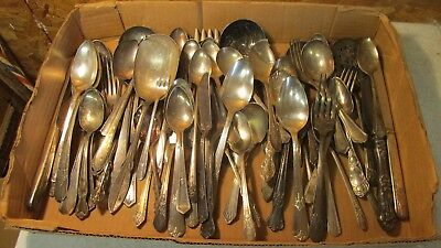 Old Silver Plate Silver Flatware Crafts & Jewelry Lot 2  - 5 LBS