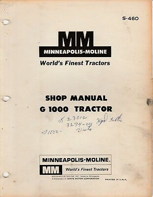 Minneapolis Moline G-1000 Tractor Factory Service Manual