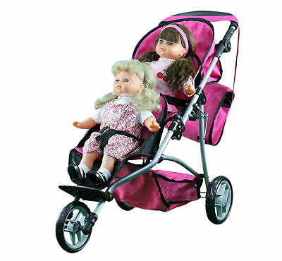 Twin Seat Baby Doll Jogger Stroller Pretend Play Carriage Bag Dolls Accessories