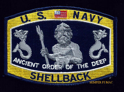 Shellback Patch Uss Us Navy Equator King Neptune Mermaid Ancient Order Of Deep