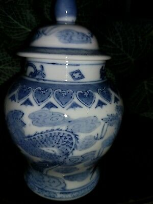 Mid Century Style Chinese  Blue White Porcelain Ginger Jar Dragon & Firebird