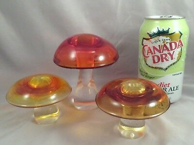 SET OF 3 LARGE Vintage Viking Glass Midcentury Modernist Mushrooms Paperweights