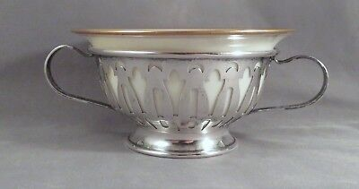 Sterling Silver Double Handled Bouillon Cream Soup Broth Bowl Lenox Gold Liner