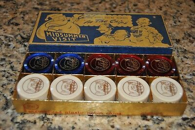 Vintage Old Antique Rare Santa Claus Pin Up Playing Cards Poker Chips Set