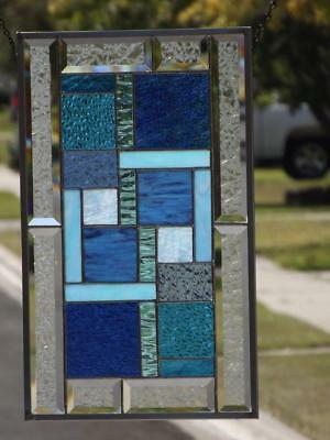 """• Lagoon •Beveled Stained Glass Window Panel •20 ½""""x 12 ½"""" (52x32cm)"""