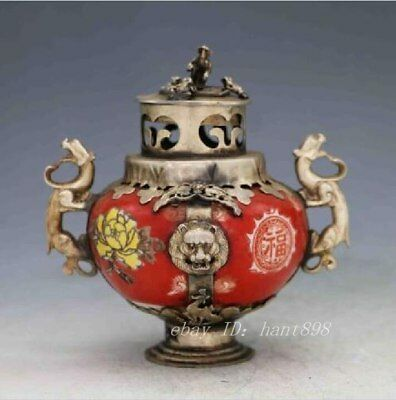 Chinese Porcelain Inlaid Tibetan Silver&Monkey Lid Incense Burner