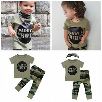 Toddler Baby Boy/Girl Camouflage T-shirt Camo Tops Long Pants Outfit Clothes Set