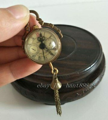CHINESE OLD BRASS GLASS Pocket Watch BALL Clock/