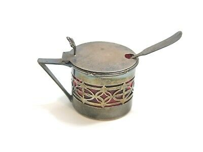 Antique Sterling Silver Hinged Mustard Pot With Cranberry Glass Liner + Spoon