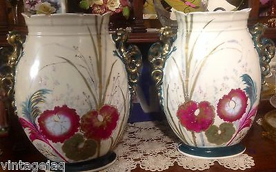PAIR STAFFORDSHIRE POTTERY 2 DRAGON HDLD VASES H/PAINTED - PICK-up REDCLIFFE QLD