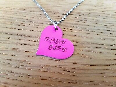 Baby Girl Hot Pink Anodised Aluminum Heart Necklace BDSM ddlg day collar Daddy