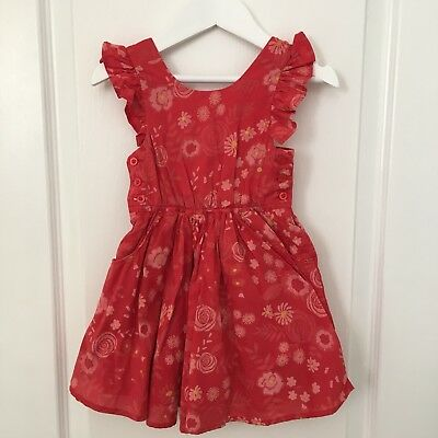 Pumpkin Patch Size 1 (12-18 Months) Floral Red Festive Skort Playsuit 'As New'