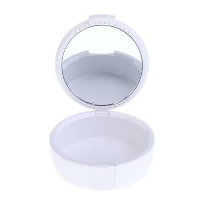 Oral Care Denture Storage Box False Teeth Case Container with Mirror White
