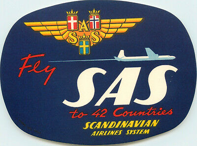 SCANDINAVIAN AIRLINES / SAS to 42 Countries - Old Luggage Label, circa 1955