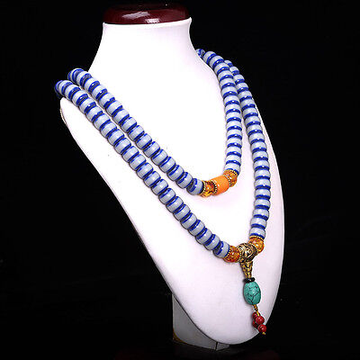 Collectibles handwork old turquoise & Beeswax  toyed prayer jade Bead Necklace