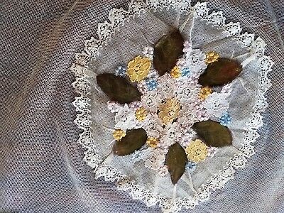 "Antique Blue Net Valenciennes Lace Large 29""Round Doily,Parasol Cover,Doll Dress"