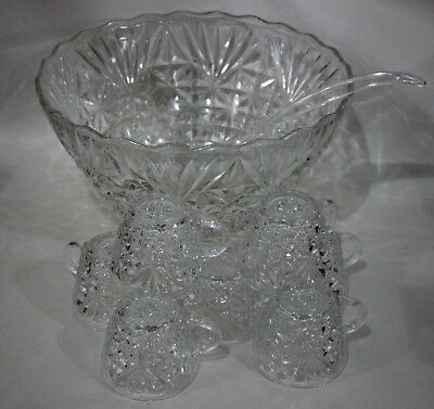 Clear Crystal Punch Bowl W/ 8 Cups and Ladle