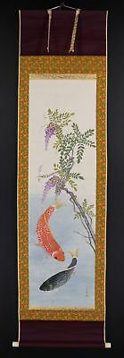 """JAPANESE HANGING SCROLL ART Painting """"Carps"""" Asian antique  #E8578"""