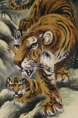 """JAPANESE HANGING SCROLL ART Painting """"Tiger"""" Asian antique  #E8529"""