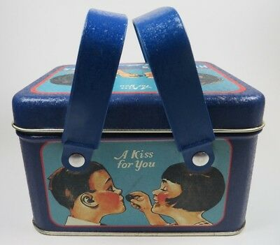 Hershey's Kisses Tin Can With Handles 1994 Vintage Blue A Kiss for you Milk