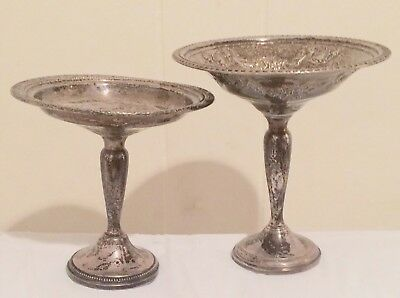 PAIR antique FRANK M. WHITING STERLING SILVER COMPOTES,