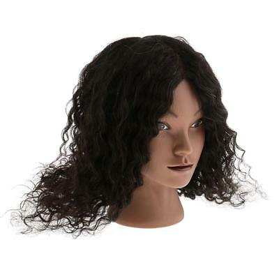 100% HUMAN HAIR Cosmetology Silicone Practice Training Mannequin Head Doll