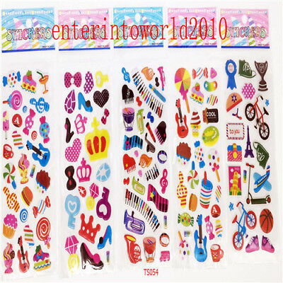 5pcs 3D PVC Bicycle Football Envelope craft stickers Kids wall stickers lot gift