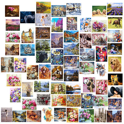 Unframed Digital DIY Paint By Number Kit Cat Oil Painting on Canvas Wall Artwork