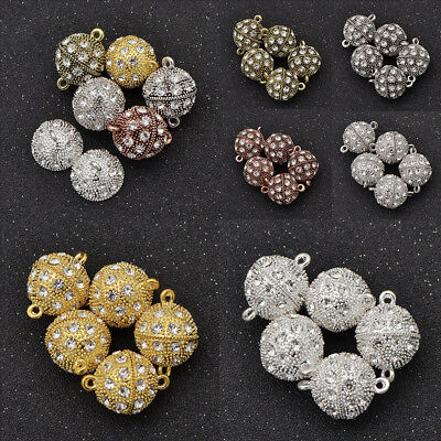 5 Pcs Ball Magnetic Clasps Crystal Rhinestone Jewelry Making 10/12/14/16/18mm