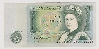 1981 £1 ONE POUND BANK OF ENGLAND D H F SOMERSET  NOTE aUNCIRCULATED 364