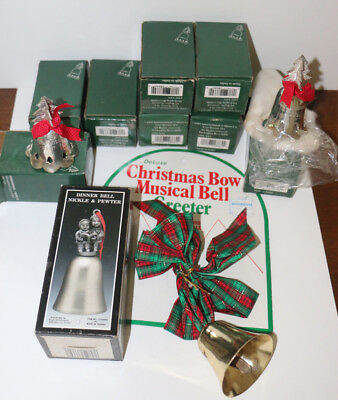 Collection of Silver Nickel and Pewter Christmas bells bell ornaments door bow