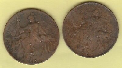 France 10 Centimes X 2 1915 1916 Coins Circulated Bronze 30Mm