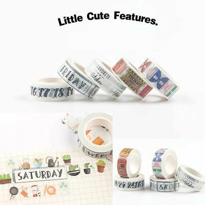 2017 Pop Washi Tape Day of The Week Student Travel DIY Ablum Decor Making Type