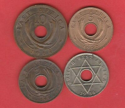 British East And West Africa 5 &10 Cent , Half Penny 1936 ,1964 , 1952